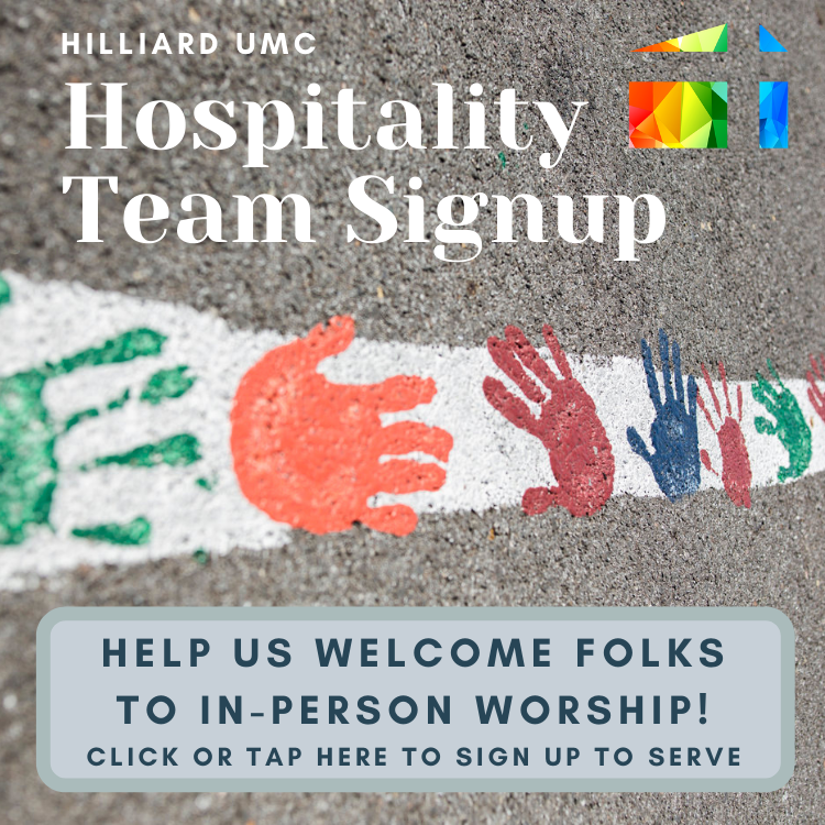 Welcome people to in-person worship! Sign up to serve on a Sunday hospitality team.
